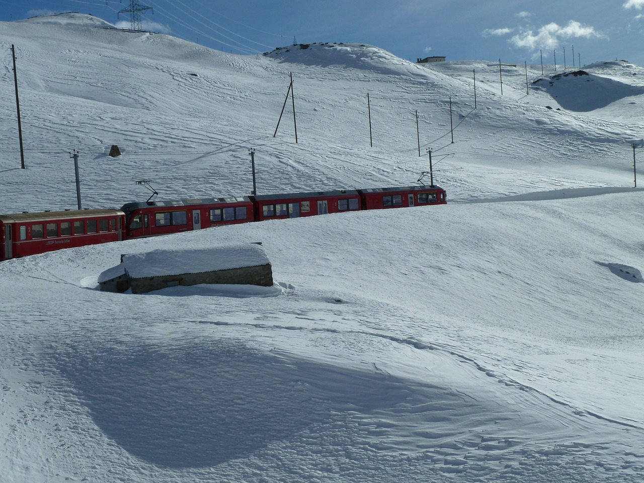Schweizer Winterlandschaft mit Glacierexpress