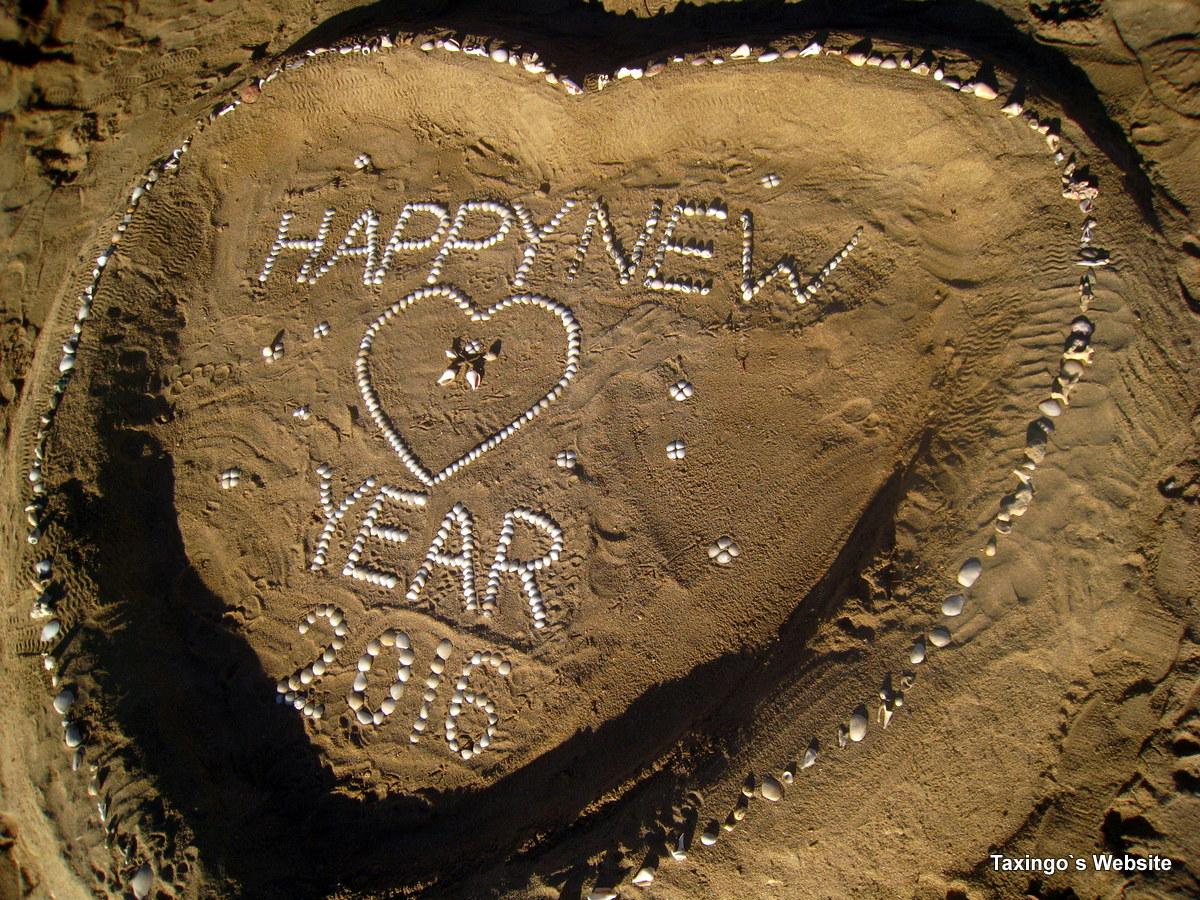 Neujahrwünsche am Strand
