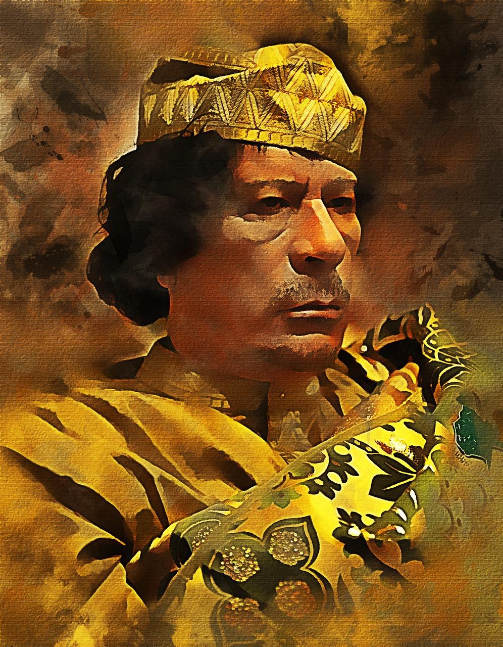 """Muammar Muhammad Abdassalam Abu Minyar al-Gaddafi    ermordet von NATO-Terroristen. """"Statt die politische Macht zu kontrollieren, statt Unrecht, Lüge und Heuchelei aufzuzeigen, begleiten die Medien wie Kriegstrommler die neuen Beutezüge der westlichen Welt"""", meint Karin Leukefeld."""